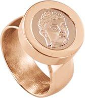 Quiges RVS Schroefsysteem Ring Rosékleurig Glans 17mm met Verwisselbare Rosé Boeddha 12mm Mini Munt