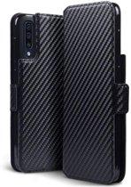 Hoesje voor Samsung Galaxy A50, carbon look 3-in-1 bookcase, zwart