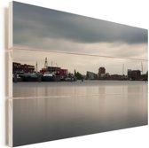 Skyline van de Nederlandse stad Haarlem Vurenhout met planken 120x80 cm - Foto print op Hout (Wanddecoratie)