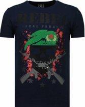 Local Fanatic Skull Rebel - Rhinestone T-shirt - Blauw - Maten: XL