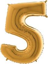 Folieballon cijfer 5 goud (100cm)