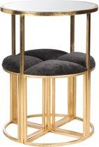 Duverger Gold - Bistro set - rond - tafel met 4 krukken - zwart stoffen zit - metalen frame - goudkleurig