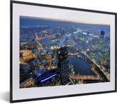 Foto in lijst - Schitterende luchtfoto van de miljoenenstad Melbourne in Australië fotolijst zwart met witte passe-partout klein 40x30 cm - Poster in lijst (Wanddecoratie woonkamer / slaapkamer)