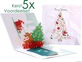 Popcards popupkaarten voordeelset - 5 Kerstkaarten kerstboom met hertje en cadeautjes pop-up kaarten