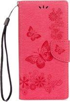 Voor Sony Xperia XA1 Pressed Bloemens vlinder patroon horizontaal Flip lederen hoesje met houder & opbergruimte voor pinpassen & portemonnee(rood)