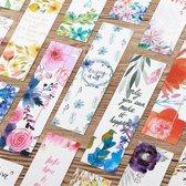 Mooie Bloemen Bladwijzers -  5 stuks - Bloemen Boekenlegger - Vrolijke Boekenlegger met quotes