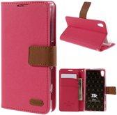 Roar - Sony Xperia Z5 Hoesje - Wallet Case Denim Roze