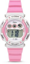 Colori Cyber Sport 5 CLK089 Digitaal Kinderhorloge - Siliconen Band - Ø 36 mm - Roze / Wit