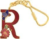 Behave® Sleutelhanger rood emaille letter R 4 cm