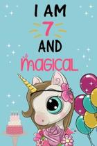 I'm 7 and Magical: Cute Unicorn Birthday Journal on a Turquoise Background Birthday Gift for a 7 Year Old Girl (6x9'' 100 Wide Lined & Bla