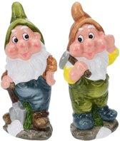 2x Tuinkabouters 30 cm mijnwerkers groen/bruin