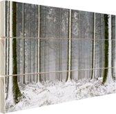 Besneeuwde bomen in de winter Hout 30x20 cm - klein - Foto print op Hout (Wanddecoratie)