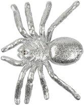 Halloween - Zilveren grote halloween decoratie spin met glitters
