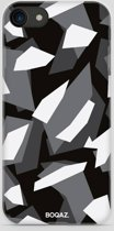BOQAZ. iPhone 8 hoesje - camouflage camo zwart wit grijs