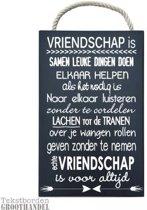 S132 Black Vriendschap3 steigerhouten tekstbord.