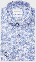 Michaelis Slim Fit overhemd - blauw met wit bloemen dessin - boordmaat 38