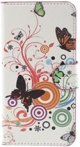Javu - iPhone 8 Hoesje - Wallet Case Vlinders Wit