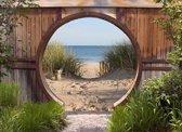 Tuindoek doorkijk strand en zee