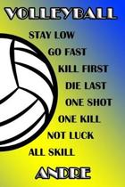 Volleyball Stay Low Go Fast Kill First Die Last One Shot One Kill Not Luck All Skill Andre