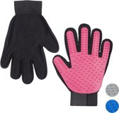 relaxdays vachtverzorgingshandschoen hond kat - borstel handschoen hondenborstel ontharen roze