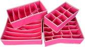Kleding Organizerset - 4-Delig - Roze - Overzichtelijke opbergboxen voor je garderobe