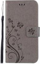 Shop4 - Samsung Galaxy A50 Hoesje - Wallet Case Vlinder Patroon Grijs