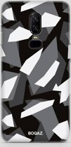 BOQAZ. OnePlus 6 hoesje - camouflage camo zwart wit grijs