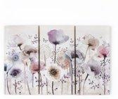 Graham & Brown - Klassieke Klaprozen Trio - Canvassen set - Beige/paars - 3x 30x60 cm