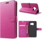 Litchi Cover wallet case hoesje Samsung Galaxy S7 roze