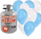 Helium tank met blauw en witte ballonnen - Geboorte - Heliumgas met ballonnen jongen geboren voor babyshower