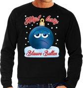 Foute Kerst trui / sweater -  Altijd lastig blauwe ballen - blue balls - zwart voor heren - kerstkleding / kerst outfit L (52)