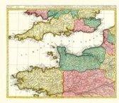 Historische Karte: Ärmelkanal - südliches England und nördliches Frankreich mit den Kanalinseln, um 1710