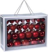 52x Rode glazen kerstballen 4-5-6-7 cm - Mat/glans /glitter- Kerstboomversiering rood