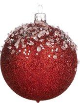Rode En Zilveren Kerstbal Met Glitter 8Cm, 6 Stuks