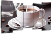 Canvas schilderij Koffie   Wit, Bruin   150x80cm 5Luik