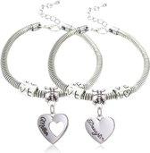BFF mother daughter armband 2 stuks | moeder dochter | liefde | hartje | bedel |20-22 cm