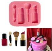 Fondant Make Up Mal - Siliconen Makeup versiering vorm - Lippenstift Fondant / Marsepein / Chocolade / Zeep - Voor decoratie van taart, cupcakes en cake