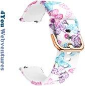 Vlinder Print Siliconen Bandje voor 20mm Smartwatches van Samsung, Pebble, Garmin, Huawei, Moto, Ticwatch, Seiko, Citizen en Q – 20 mm white rubber smartwatch butterfly print - 4You Webventures