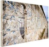 Berlijnse muur met gat Hout 120x80 cm - Foto print op Hout (Wanddecoratie)