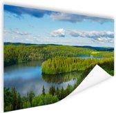 Uitzicht op meren  Poster 90x60 cm - Foto print op Poster (wanddecoratie)