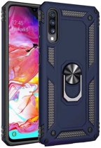Teleplus Samsung Galaxy A7 2018 Vega Ringed Tank Cover Case Navy Blue + Nano Screen Protector hoesje
