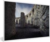 Foto in lijst - Stonehenge van de binnenkant fotolijst wit 60x40 cm - Poster in lijst (Wanddecoratie woonkamer / slaapkamer)