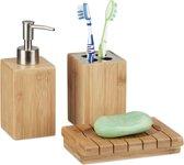 relaxdays badkameraccessoires bamboe - 3-delige badkamerset - zeeppompje - bekertje hout