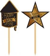 Luxe cocktailprikkers Happy New Year 20 stuks - Oud en nieuw�