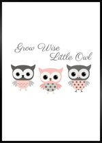 Minimalistic Wall Art - A3 Poster met Uilen en de Quote Grow Wise Little Owl