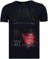 Local Fanatic Pablo Escobar Narcos - Rhinestone T-shirt - Blauw - Maten: XL