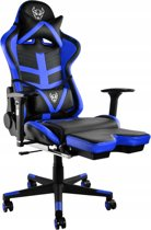 Luxe Gaming Race Chair Met Voetsteun - Bureau Stoel - Ergonomische Racing Design Game Computer Stoel - Zwart/Blauw
