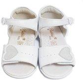 Baby zomer sandalen  wit met hartje, 100% echt leer, voetbed zacht en verstelbaar met klittenband
