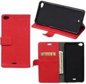 Litchi Cover wallet case hoesje Wiko Ridge 4G rood