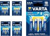 20 Stuks (5 Blisters a 4st) - VARTA High Energy LR03 / AAA / R03 / MN 2400 1.5V alkaline batterij